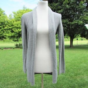 St Johns Bay Gray Ribbed Open Front Long Sweater S